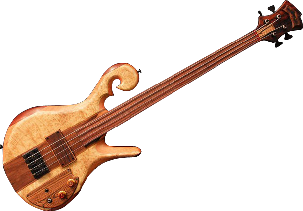 Example 4-string full-frills bass with fancy wood body and wood pickup cover